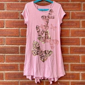 Next Dusty Rose Short Sleeve Tunic Gold Butterfly